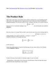 2 The Product Rule