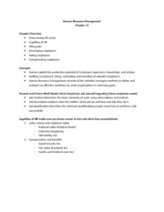 Chapter 11 Outline-Human Resource Management