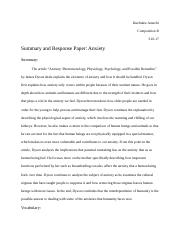 Summary and Response: Anxiety Paper.docx