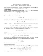 MATH 557 Large Sample and Asymptotic Results Notes