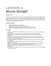 lesson 4 - Muscle Strength