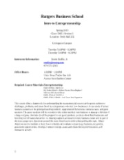 Intro to Entrepreneurship Syllabus 2013