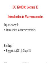 Lecture 13 Introduction to Macroeconomics(1)