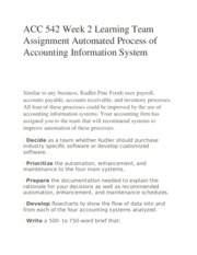 ACC 542 Week 2 Learning Team Assignment Automated Process of Accounting Information System
