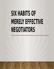 six habits of merely effective negotiators