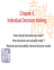 Chapter06 Individual Decision Making