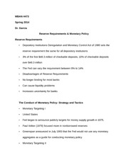 MBAN 4473 Notes on Reserve Requirements & Monetary Policy