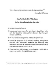 How To Do Well In This Class