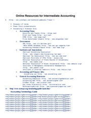 Online Resources for Intermediate Accounting