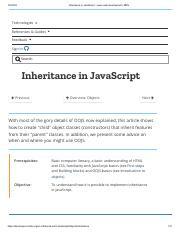 Inheritance - no 4 pdf - Inheritance in JavaScript Learn web