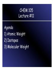 CHEM 105 Lecture 11
