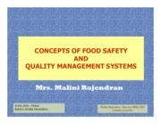 Presentation on concepts of Food Safety and Quality Management Systems by Mrs. Malini Rajendran
