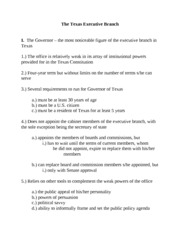 GOVT 2302 --- Texas Executive Branch Brief