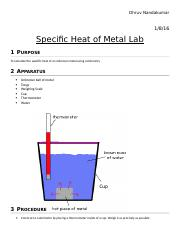 Specific heat of metal LAB REPORT