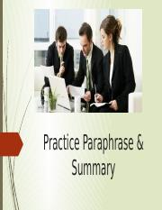 (2) Practise on paraphase