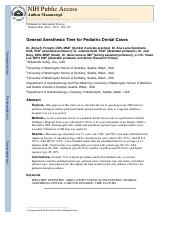 2012 General anesthesia time for pediatric dental cases.