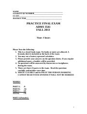 2013_3541 FALL PRACTICE FINAL EXAM , QUESTIONS ONLY, November 30, 2013 (1)