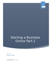 Bus 107 Assignment 2 Starting a Business Online