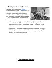 Copy of McCarthyism Discussion Questions - McCarthyism ...