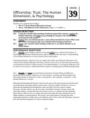 LSN 39 Officership and Psychology