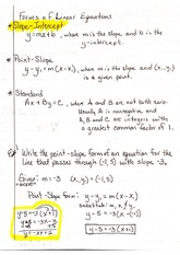 Forms of Linear Equations Notes