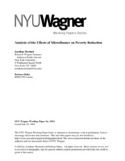Analysis of the Effects of Microfinance on Poverty Reduction