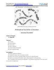 REVIEWER - Philosophical Foundation of Education