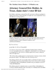 7-10-12 CSM Attorney General Eric Holder, in Texas, slams state's voter ID law