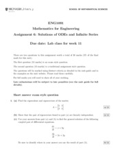 Assignment 6 Solutions for ODEs and Improper Integrals