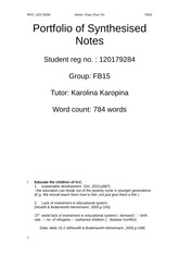 Portfolio of Synthesised Notes