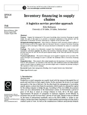 Inventory financing in supply chains