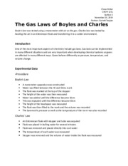 Chemistry Lab 13 - The Gas Laws of Boyles and Charles