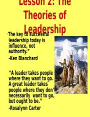 Lesson 2 Theories of Leadership.ppt