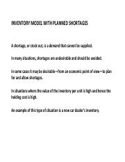 INVENTORY MODEL WITH PLANNED SHORTAGES