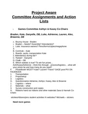 Project Aware Committee Action List