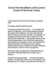 The Putney Debates, Further Abridged for POLS1000