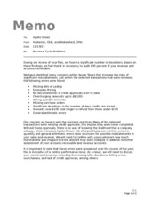 audit staffing memo I management comment letter: during and after the fieldwork, staff auditors are expected to write management comments or descriptions of reportable conditions that they observed during the.
