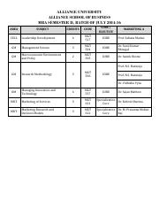 MBA July 2014-16 Batch, Semester II, Marketing A Schedule