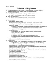 Balance of Payments Notes