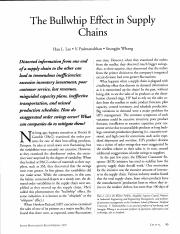Chapter 10.2 - The Bullwhip Effect in Supply Chains by Lee