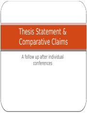 Thesis Statement & Comparative Claims(1)