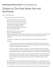 Chapter 27: The Great Break: War and Revolution - AP European History Chapter Outlines - Study Notes