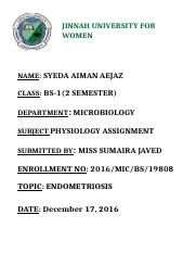 PHYSIOLOGY ASSIGNMENT 2 SEMESTER ENDOMETRIOSIS (1) (1)------.docx