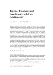 Types of Financing and Investment-Cash Flow Relationship
