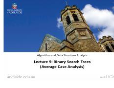 Lecture 9. Binary Search Trees (Average Case Analysis)