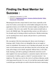 Finding the Best Mentor for Success