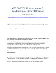 MGT 500 Week 10 Assignment 3 - Leadership of Richard Branson - Strayer University NEW