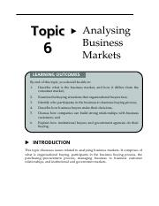 Topic 6 Analysing Business Markets