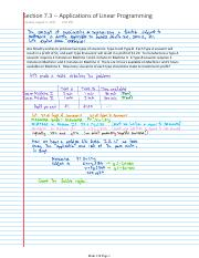 Lecture Notes -- Section 7.3 -- Applications of Linear Programming