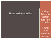 Filters and Pivot tables